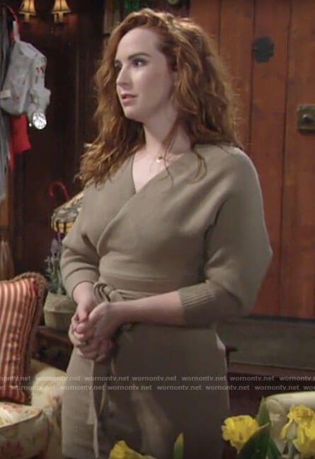 Mariah's wrap sweater dress on The Young and the Restless