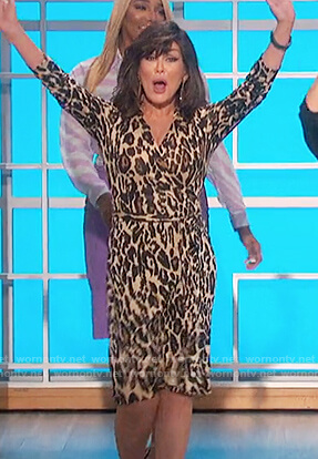 Marie's leopard print wrap dress on The Talk