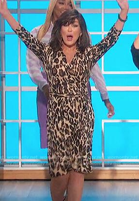Marie's leopard print wrap dress on The Talk