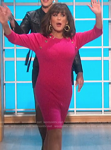 Marie's pink button embellished sweater dress on The Talk