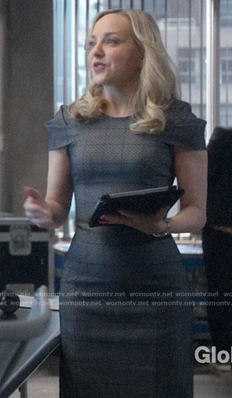 Marissa's grey plaid sheath dress on Bull