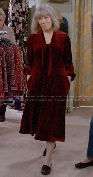Marjorie's red velvet dress on Mom