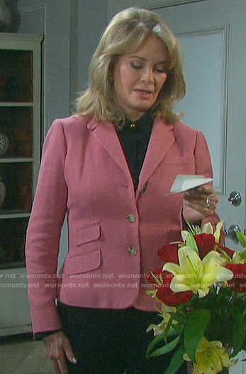 Marlena's pink herringbone blazer on Days of our Lives