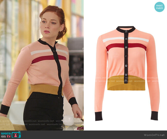 Azalea Color-Block Cardigan by Marni worn by Zoey Clarke (Jane Levy) on Zoeys Extraordinary Playlist