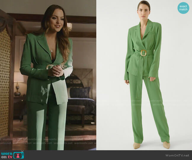 Belted Blazer Jacket and Lightweight Straight Pants by Materiel worn by Fallon Carrington (Elizabeth Gillies) on Dynasty