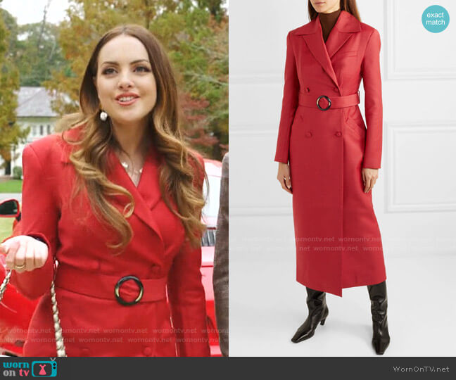 Belted Double-Breasted Coat by Materiel worn by Fallon Carrington (Elizabeth Gillies) on Dynasty