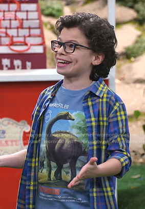 Matteo's blue dinosaur print tee and plaid shirt on Bunkd
