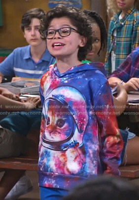 Matteo's galaxy cat print hoodie on Bunkd