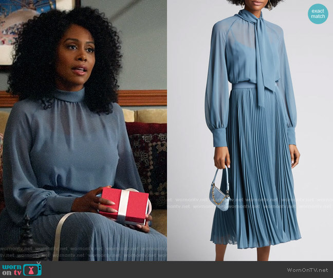 Max Mara Malizia Pleated Chiffon Tie-Neck Dress worn by Lola Carmichael (Simone Missick) on All Rise