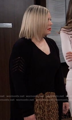 Maxie's long black cardigan on General Hospital
