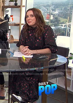 Melanie's metallic polka dot maxi dress on E! News Daily Pop