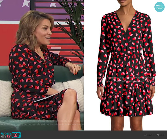 Petal-Print Ruffle Wrap Dress by MICHAEL Michael Kors worn by Kit Hoover  on Access Hollywood
