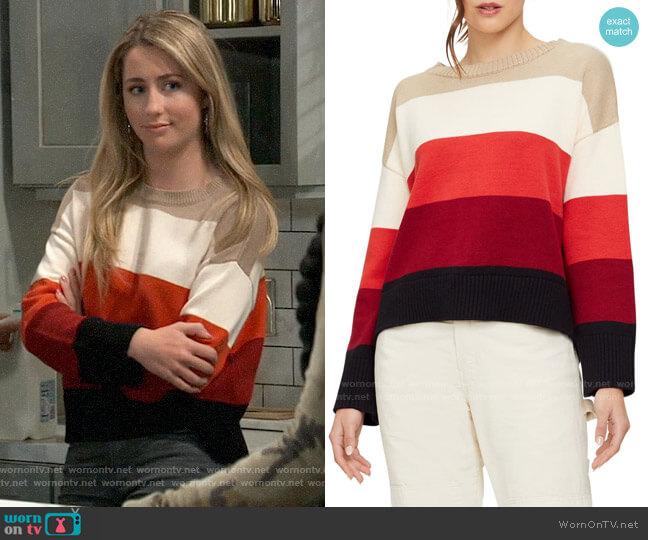 Michael Stars Parker Bristol Stripe Sweater worn by Josslyn Jacks (Eden McCoy) on General Hospital