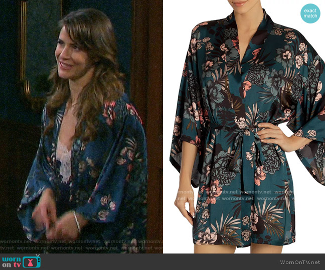 Midnight Bakery Tropical Floral-Print Robe worn by Sarah Horton (Linsey Godfrey) on Days of our Lives