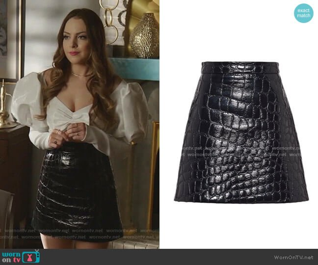 Cire Crocodile Embossed Effect Skirt by Miu Miu worn by Fallon Carrington (Elizabeth Gillies) on Dynasty
