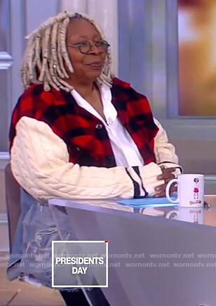 Whoopie's mixed check denim jacket on The View