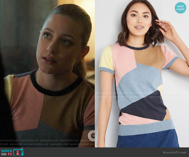 ModCloth Masterful Mosaic Short Sleeve Sweater worn by Betty Cooper (Lili Reinhart) on Riverdale