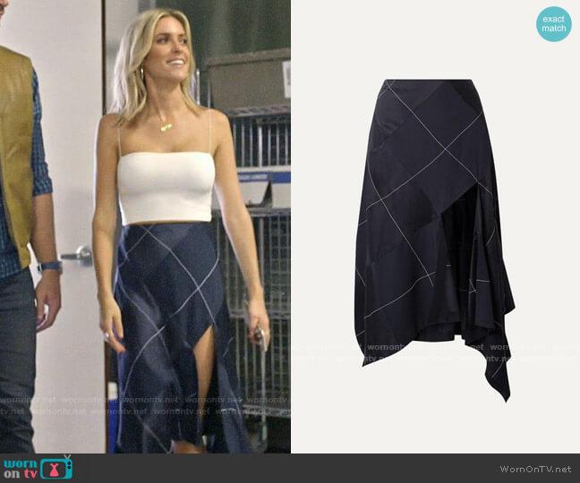 Monse Asymmetric paneled satin and crepe midi skirt worn by Kristin Cavallari  on Very Cavallari