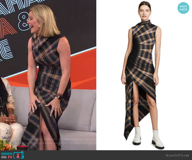 Plaid Pleated Sleeveless Dress by Monse worn by Sara Haines  on Good Morning America
