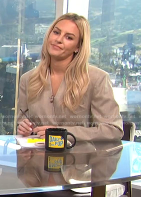 Morgan's beige wrap belted jacket on E! News Daily Pop