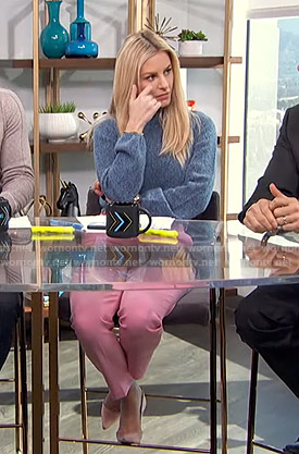 Morgan's blue sweater and pink trousers on E! News Daily Pop