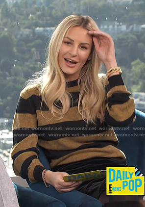 Morgan's black and brown striped sweater on E! News Daily Pop