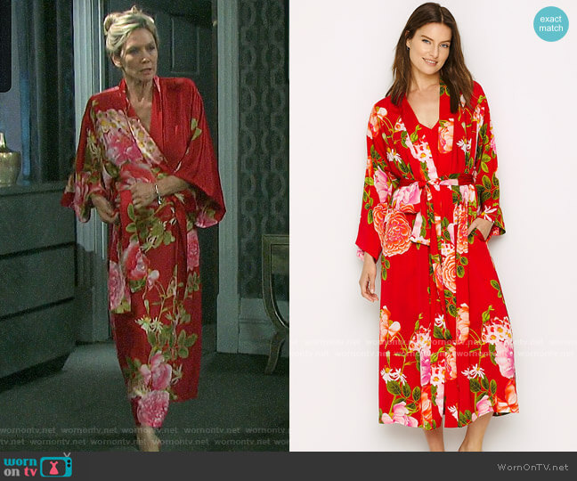 Natori Arcadia Rose Robe worn by Kristen DiMera (Stacy Haiduk) on Days of our Lives