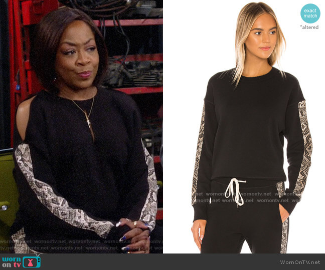 n:Philanthropy Azure Sweatshirt in Sand Python worn by Tina (Tichina Arnold) on The Neighborhood