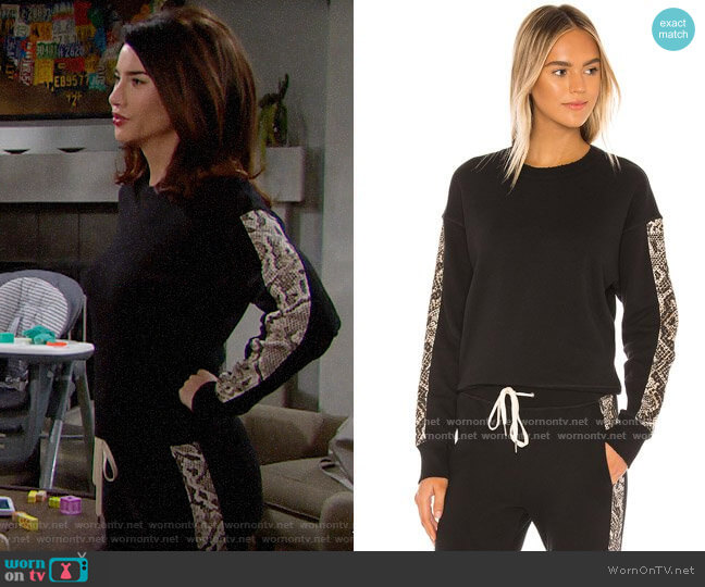 n:Philanthropy Azure Sweatshirt in Sand Python worn by Steffy Forrester (Jacqueline MacInnes Wood) on The Bold & the Beautiful