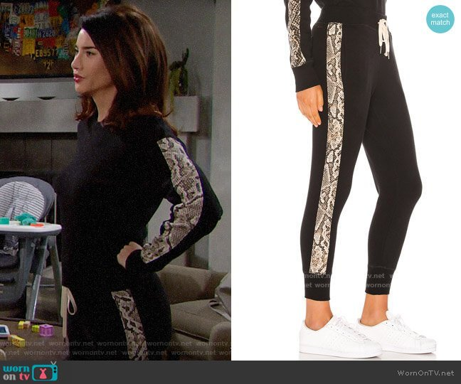 n:Philanthropy Barkley Joggers in Sand Python worn by Steffy Forrester (Jacqueline MacInnes Wood) on The Bold & the Beautiful