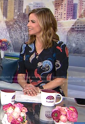Natalie's black paisley print dress on Today