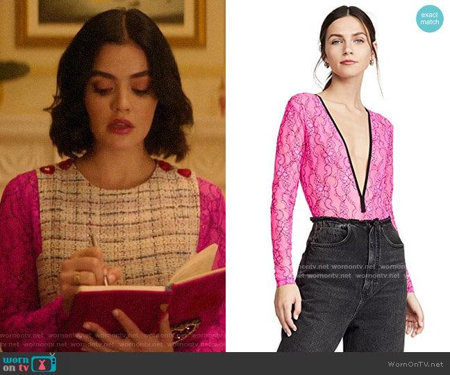 Natasha Zinko Elastic Lace Bodysuit worn by Katy Keene (Lucy Hale) on Katy Keene