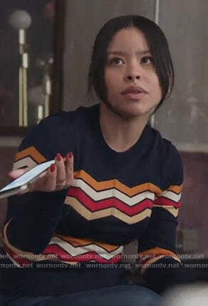 Mariana's navy chevron stripe sweatshirt on Good Trouble