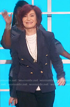 Sharon's navy double breasted blazer on The Talk