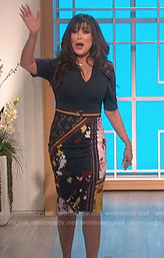 Marie's navy floral contrast dress on The Talk