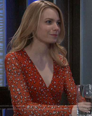 Nelle's red leopard print dress on General Hospital