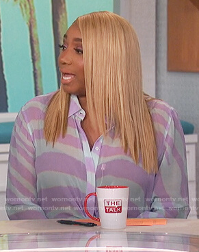 Nene Leake's purple zebra print shirt on The Talk