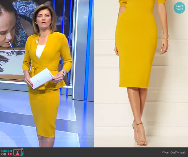 Jacqui Sweater Skirt - Eva Mendes Collection by New York & Company worn by Norah O'Donnell  on CBS Evening News
