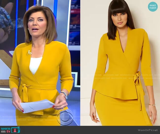 Estelle Cardigan - Eva Mendes Collection by New York & Company worn by Norah O'Donnell  on CBS Evening News