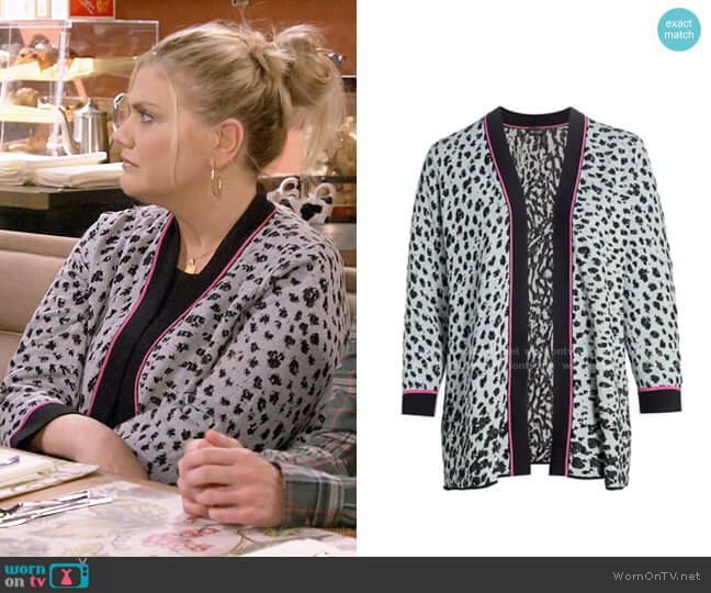 Nic + Zoe Leopard Knit Multitasker Cardigan worn by Tammy Diffendorf (Kristen Johnston) on Mom