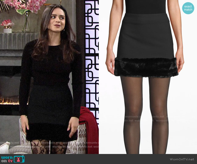 Nicole Miller Faux Fur Mini Skirt worn by Lola Rosales (Sasha Calle) on The Young & the Restless