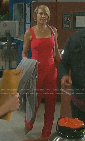 Nicole's red square neck jumpsuit on Days of our Lives