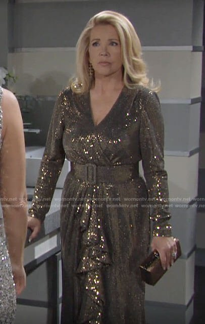 Nikki's embellished long sleeve belted gown on The Young and the Restless