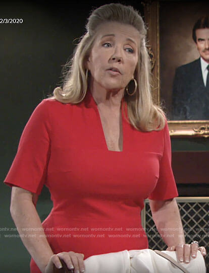 Nikki's red square neck dress on The Young and the Restless