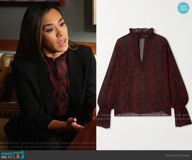 Nili Lotan Demi Blouse worn by Emily Lopez (Jessica Camacho) on All Rise