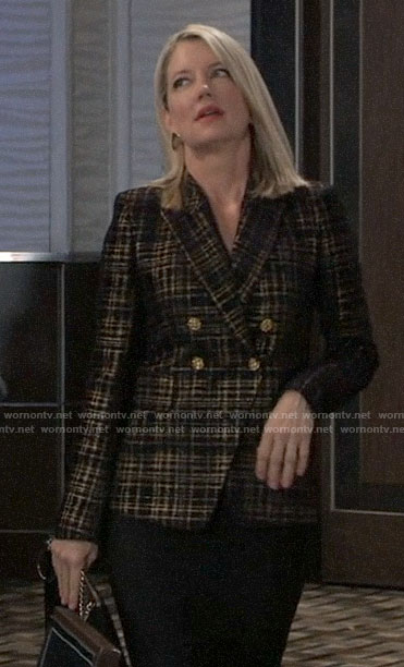 Nina's gold plaid blazer on General Hospital