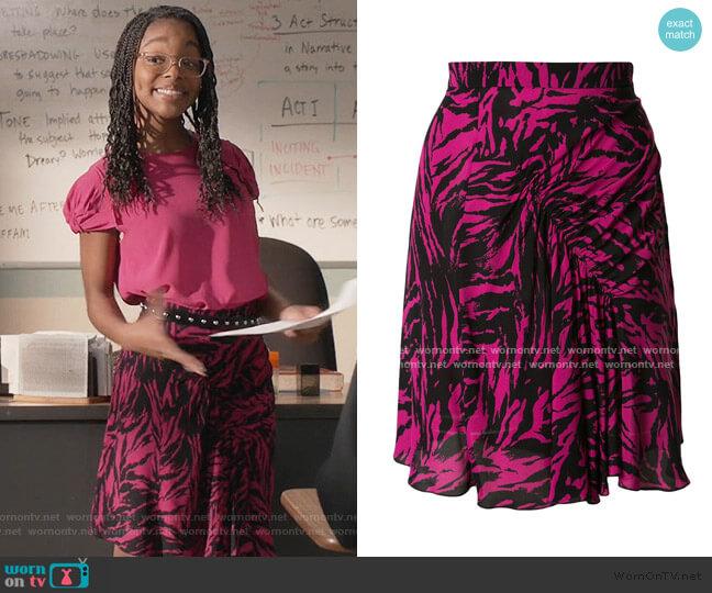 Animal Print Mini Skirt by Nº21 worn by Diane Johnson (Marsai Martin) on Blackish