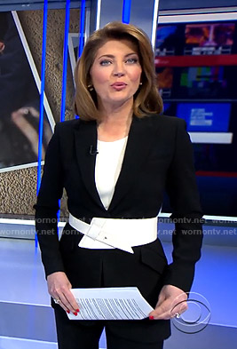 Norah's black blazer and white belt on CBS Evening News