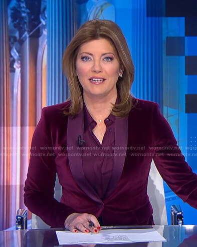 Norah's purple velvet blazer on CBS Evening News