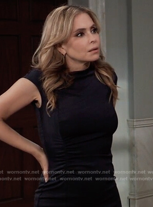 Olivia's navy asymmetric ruched dress on General Hospital